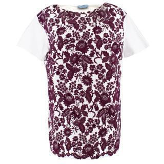 Prada Floral wool-blend T-shirt