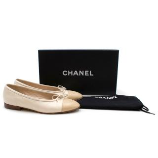 Chanel Cream Leather Ballet Flats