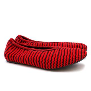 Celine Red and Black Chevron Wool Pumps