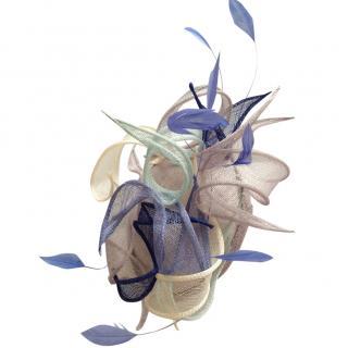 Violane De longevialle Blue and cream occasion hat