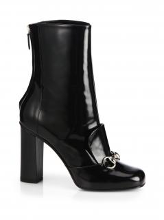 Gucci Lilian Patent Horsebit Ankle Boots