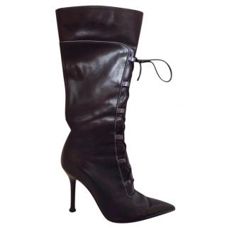 Sergio Rossi lace up knee boots