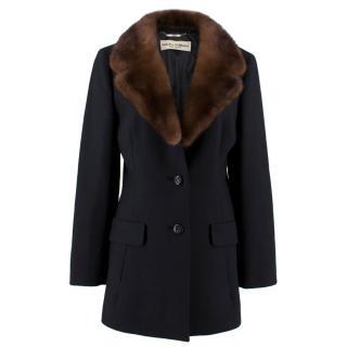Dolce & Gabbana Mink Collared Black Wool Blazer