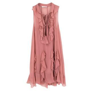 Chloe Pink Silk Ruffled Midi Dress