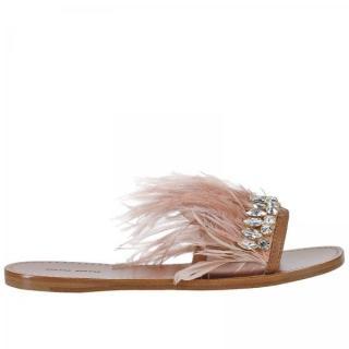MuiMui  Powder Pink Flat Sandals EU35