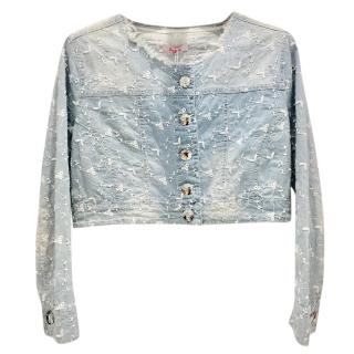Blumarine Filigree Embroidered Pale Blue Cropped Jacket