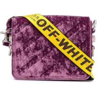 OFF WHITE Purple Binder Clip Velvet Bag