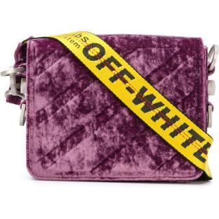 OFF WHITE Purple Binder Clip Velvet Bag
