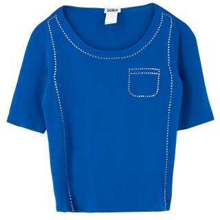 Sonia by Sonia Rykiel Blue Embellished Top