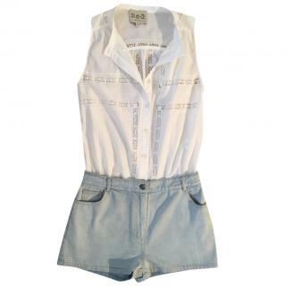 SEA NY playsuit white cotton lace vest top & denim shorts