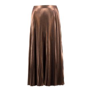 A.L.C Metallic Pleated Midi Skirt