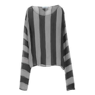 Prada Striped Sheer Slik Blouse