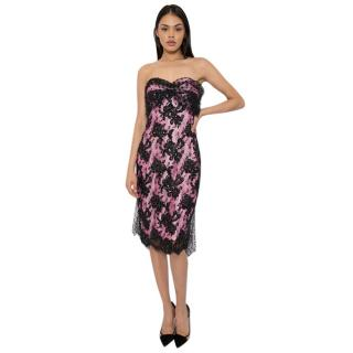 Victor Costa Silk Strapless Embellished Tulle Train Dress