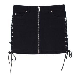 Saint Laurent Denim Lace-Up Mini Skirt