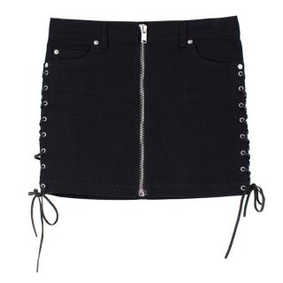 Saint Laurent Denim Lace-Up Mini Skirt