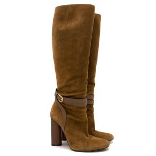 Gucci Suede Knee-High Heeled Boots