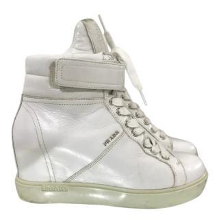 Prada White Leather Wedge Trainers