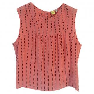 PAUL SMITH 100% silk peach & black star print sleeveless blouse