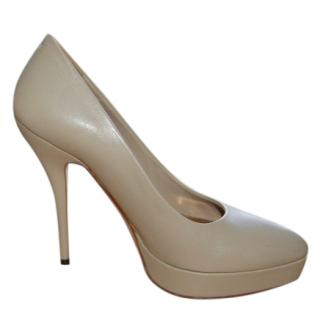 Gucci Platform Heeled Beige Pumps