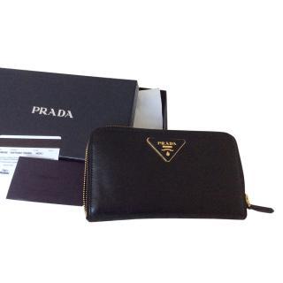 Prada Black  Zip-around Wallet