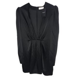 Saint Laurent black plunge neckline dress