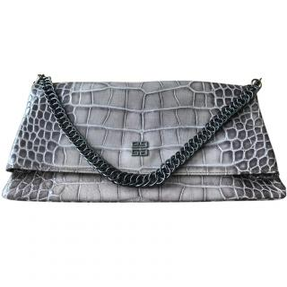 Givenchy large croc embossed fold over clutch