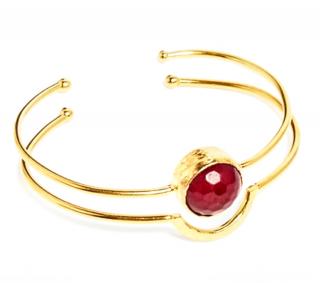 Ottoman Fine Jewellery Red Agate Double Cuff