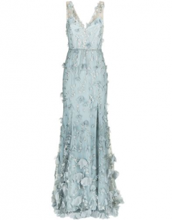 Marchesa Notte Floral Embroidered Plunging Gown