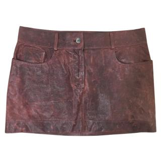 Dolce & Gabbana Burgundy Leather Skirt