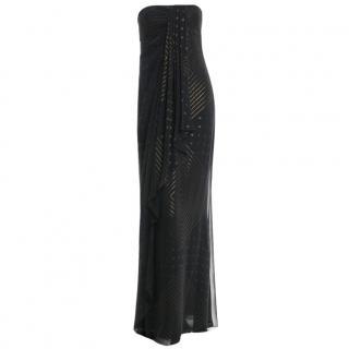 Marchesa Notte black silk evening gown