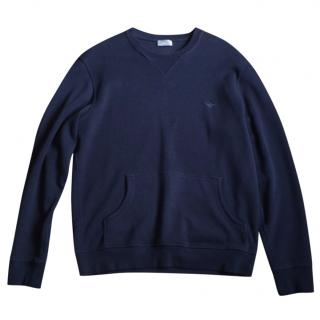 Dior Navy Wool V neck Bee Motif Jumper