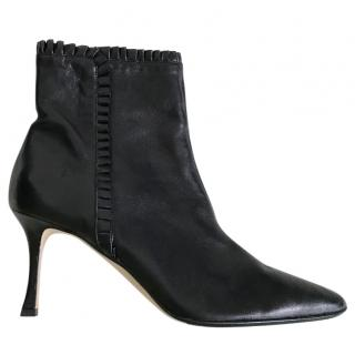 Manolo Blank black leather ankle boots