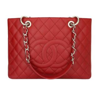 Chanel Red Caviar  Grand Shopping Tote (GST) Bag