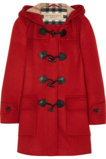 Burberry red hooded duffle coat