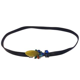 Vicki sarge Leather & Swarovski Crystal Wrap Necklace