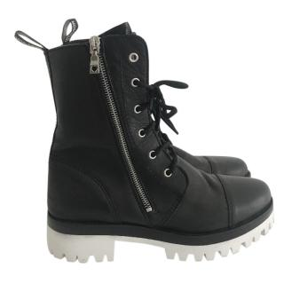 Moschino Love combat boots black leather white soles
