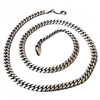 Cuban Chain Brushed Solid Silver 45cms