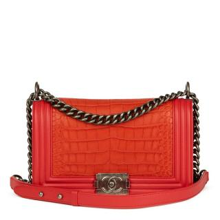 Chanel Le Boy Med Red Lambskin & Orange Matte Alligator