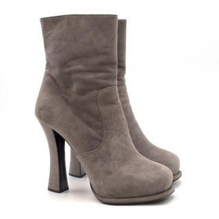 Prada Grey Suede Heeled Boots