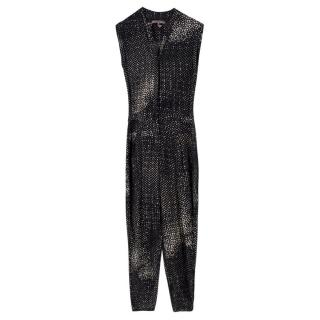 Halston Heritage Black Patterned Jumpsuit