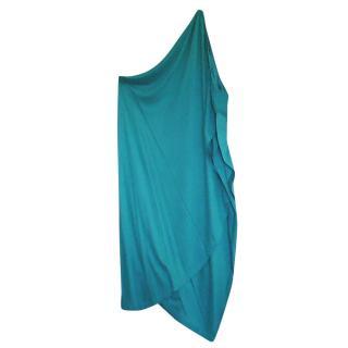 Jil Sander blue one shoulder day/ evening dress