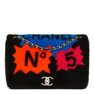Chanel Jumbo Black Shearling & Lambskin Patchwork Shearling Flap Bag