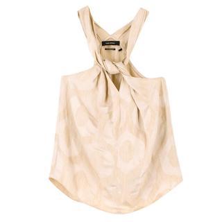 Isabel Marant Gold/Beige Patterned Sleeveless Top