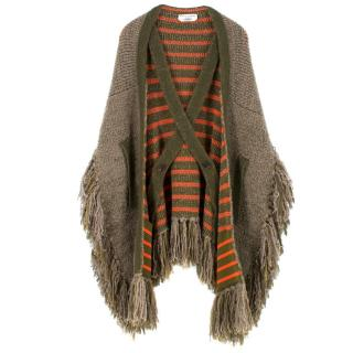 Sonia Rykiel Fringed Wool-Blend Knit Cape Poncho