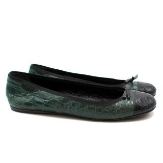 Prada Embossed Crocodile Leather Ballet Pumps