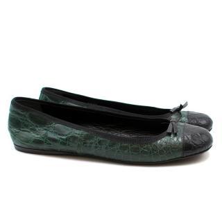 Prada Embossed Crocodile Leather Ballet Pumps