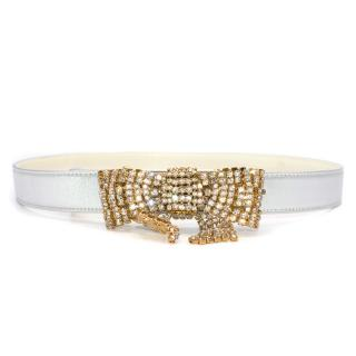 Valentino Crystal Embellished Silver Bow Belt