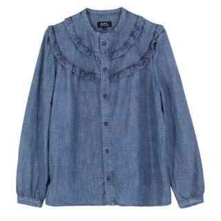 A.P.C. Blue Denim Frill Shirt