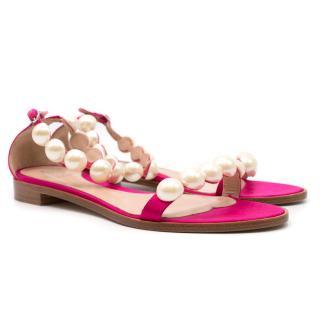 Paula Cademartori Pink Pearl Embellished Sandals