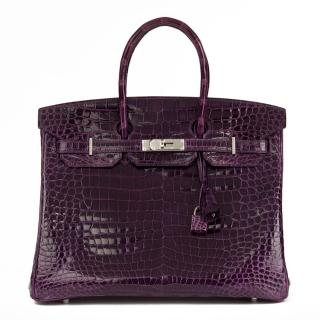 Hermes Shiny Porosus Amethyst Crocodile Leather Birkin 35cm